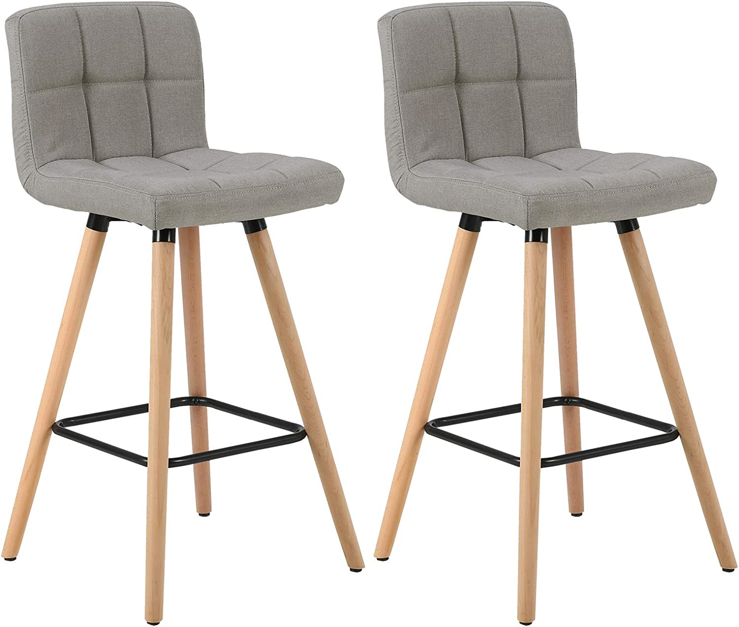 WOLTU Bar Stools Set of 9 PCS Soft Linen Seat Bar Chairs Breakfast Kitchen  Counter Chairs Solid Wood Legs Barstools Light Grey High Stools with ...