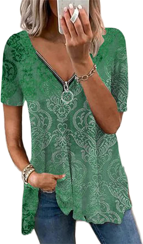 Andongnywell Women's Summer Casual Short Sleeve V-Neck Zipper Pullover Print T-Shirt Tops Shirts Blouses Tunics