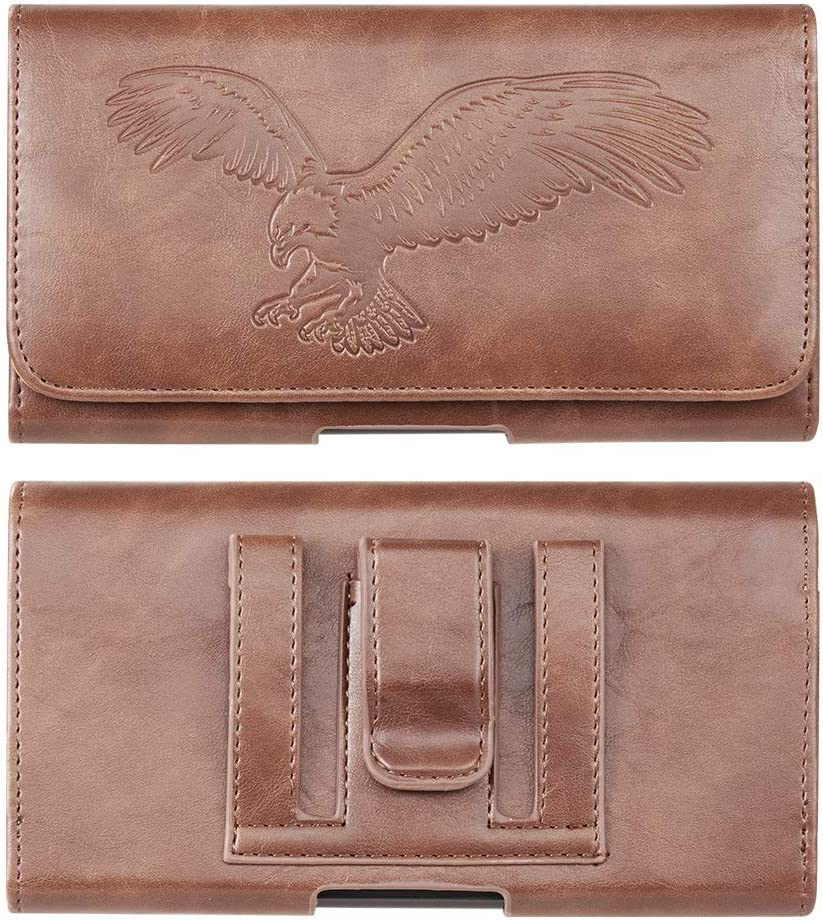 Universal Embossed Eagle PU Leather Cell Phone Holster Pouch for iPhone 12, 12 Pro, 12 Mini, SE 2020