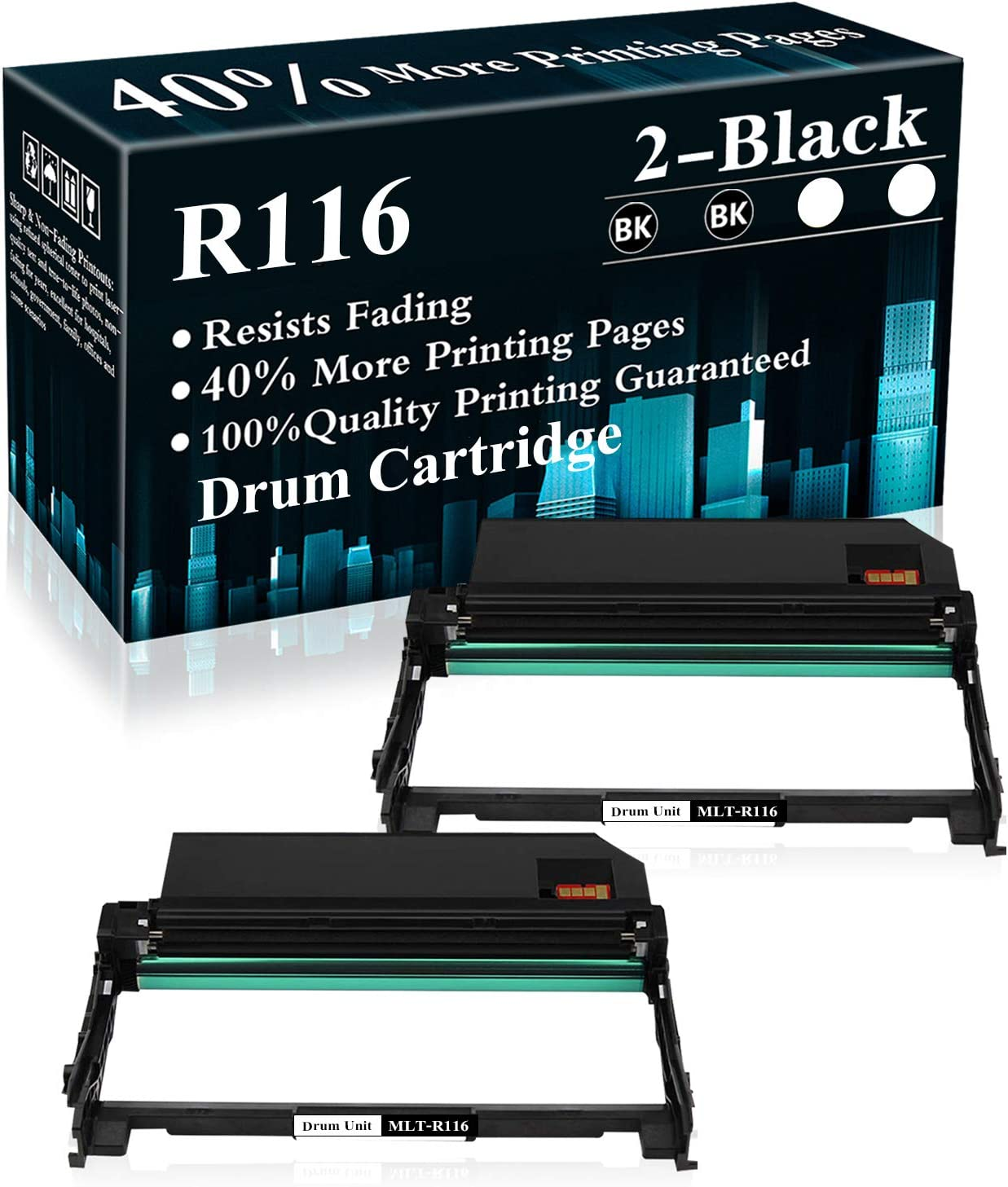 2 Pack MLT-R116 Black Drum Unit Replacement for Samsung Xpress M2825DW M2835 M2675FN M2676N M2676FH M2875FD M2625 M2625D M2626 M2875FD M2875FD M2885FW M2876HN Printer,Sold by TopInk