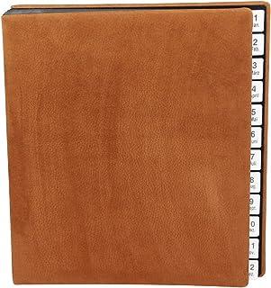 Classeur en nubuck avec onglets de 1 à 12 (jan-déc).