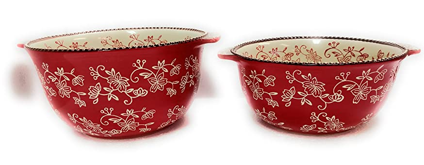 Temp-tations Set of 2 Bowls, Tall Side, Mixing or Serving, Nestable 2.5 Quart & 1.5 Quart (Floral Lace Red)