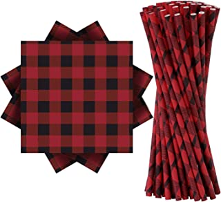 Aneco 100 Pieces Red and Black Plaid Party Supplies Party Tableware 50 Pieces Napkins and 50 Pieces Paper Straws for Wedding Bridal Shower Birthday Party