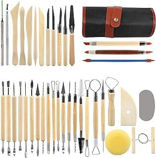 LinStyle 38 Pièces Outil en Céramique Set, Kit D'outils Poterie avec Sac de Rangement, Outils de Sculpture pour Le Modelag...