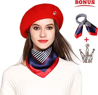 6da9b3ad813 Jeicy Wool Beret Hat Solid Color French Artist Beret Skily Scarf Brooch