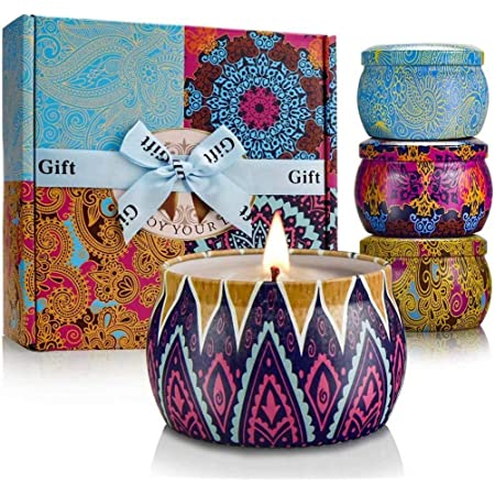 Scented Candles Set for Women Portable Candles Travel Tin Fragrance Gift for Mother Day Birthday Valentine Day Weddings Soy Candle Long Lasting Aromatherapy Candles for Home
