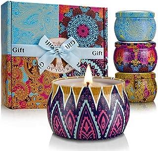 YINUO LIGHT مجموعه هدایا شمع های معطر، 100٪ طبیعی مایکروویو، شمع های قلع برای استرس آرامش بخش و آرام آرایش، 4x4 قلم روی اونس