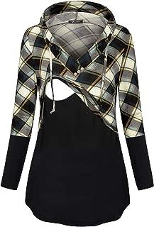 Women's Long Sleeve Plaid Colorblock Nursing Pullover Hoodie Sweatshirts