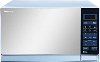 Sharp 25 Liters 1000 Watts Mirror Finished Digital Combination Microwave Oven with Grill, Silver - R-75MT-S