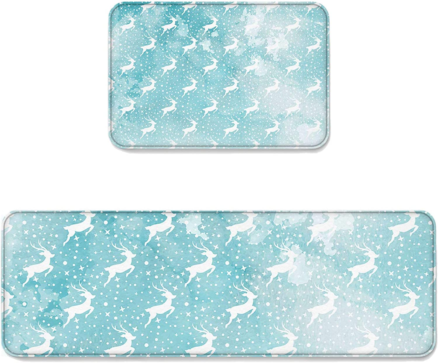 2 pcs Kitchen Mat Doormat Runner Rug Set, Kids Area Rug Bedroom Rug Non-Slip Rubber Backing Door Mats Christmas Xmas Reindeer Flying in Magical Fantasy Starry Night 19.7'' x 31.5'' + 19.7'' x 63''
