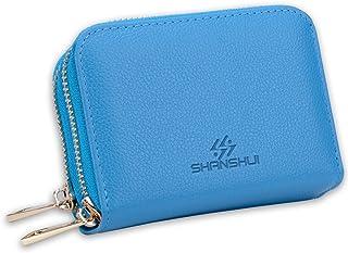 SHANSHUI RFID Blocking Primely Genuine Leather Credit Card Wallet for Women (blue)