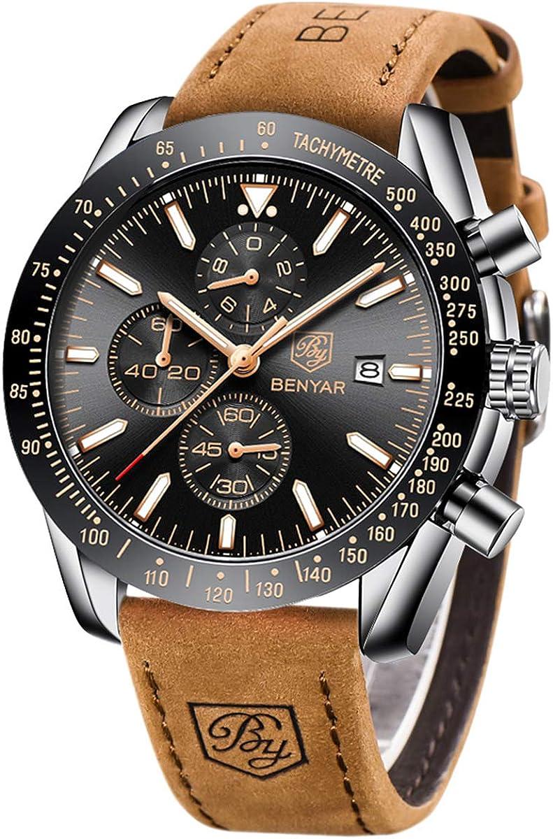 Herren Uhren BENYAR Armbanduhr Herren Lederarmband Mode Sport Chronograph Wasserdicht Analog Quarzuhr Uhren für Männer Elegantes Geschenk