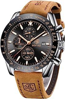 Relojes Hombre BENYAR Cronógrafo Analógico Cuarzo 3bar Impermeable Pulsera de Cuero Deporte Watch Business Casual Relojes ...