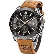 BENYAR Chronograph Mens Watch Quartz Movement 30M Waterproof | Leather Watch Strap | Chronograph...