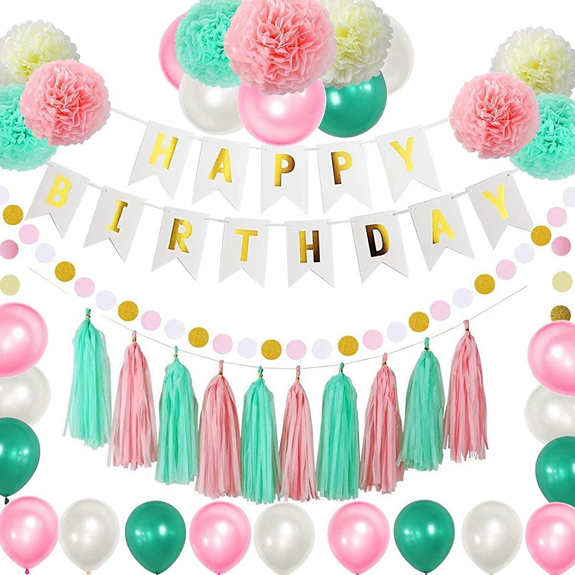 Birthday Party Supplies Set Party Decoration for Girls- includes Happy Birthday Banner Party Balloons Paper Pom Poms Tassels For Girls Birthday Party