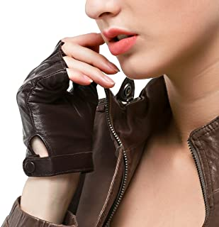 Nappaglo Women's Driving Leather Gloves Nappa Leather Half Finger Fingerless Gloves Fitness Lined Gloves for Driving Cycling Motorcycling
