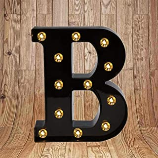 Light up Letters LED Marquee Letter Lights Sign for Night Light 26 Black Alphabet Light Up Wedding Birthday Party Battery Powered Christmas Lamp Home Bar Wall Mounted Decorative (Black Letter B)