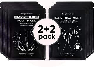 Moisturizing Foot & Hand Mask Set - Hydrating Socks & Collagen Gloves Kit - Best Korean Moisturizer for Dry Skin for Men & Women (2+2 Pack)
