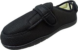 Surf 4 Shoes Pantoufles antidérapantes très larges E/5E en mousse à mémoire de forme avec fermeture tactile Noir ou tartan