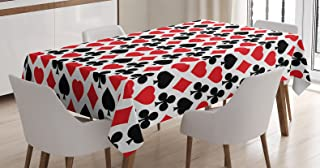 Casino Decorations Tablecloth by Ambesonne, Card Suits Pattern with Clubs Diamonds Hearts Spades Poker Gamble Theme, Dining Room Kitchen Rectangular Table Cover, 60 X 90 Inches