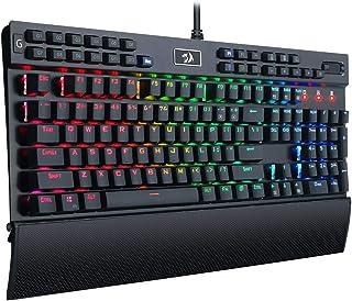 Redragon K550-SPS YAMA, Teclado Mecánico Gaming, RGB, Aluminio, Switches Outemu Purple, Rueda de volumen, reposamuñecas, USB Pass Through, 12 Teclas G Configurables, Distribución Española - Negro