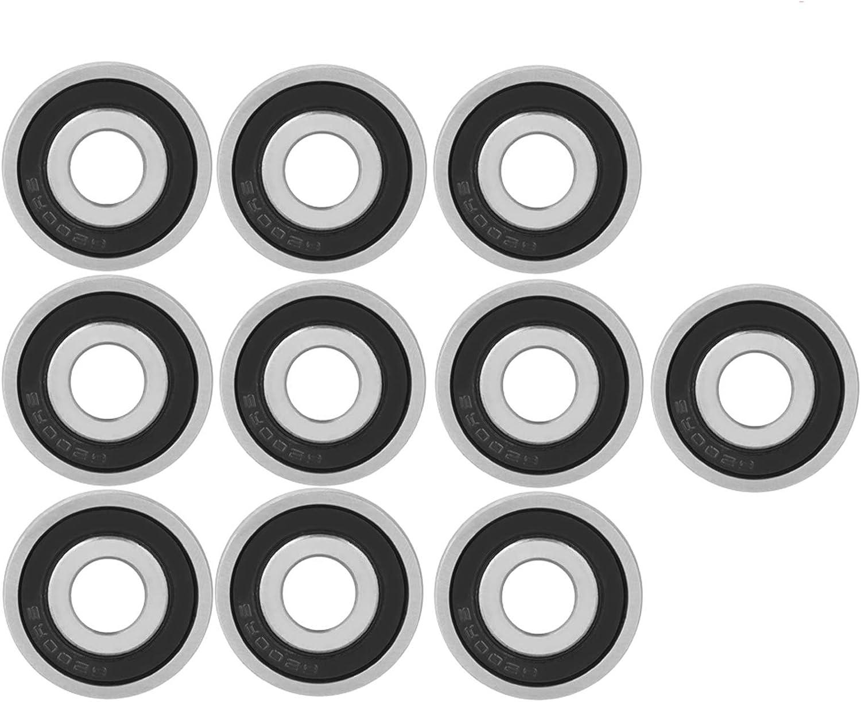 10 Piezas 6200-2RS Rodamientos Patines,Rodamientos Skate Cojinetes Longboard Cojinetes Scooter Cojinetes Skate, Rodamientos de Bolas 10 * 30 * 9MM