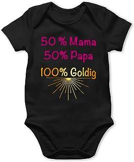 Shirtracer Sprüche Baby - 50% Papa 50% Mama 100& Goldig -Rosa - Baby Body Kurzarm für Jungen und Mädchen