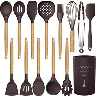 14 Pcs Silicone Cooking Utensils Kitchen Utensil Set - 446°F Heat Resistant,Turner Tongs,Spatula,Spoon,Brush,Whisk. Wooden Handles Kitchen Gadgets Tools Set for Nonstick Cookware (Dark Coffee)
