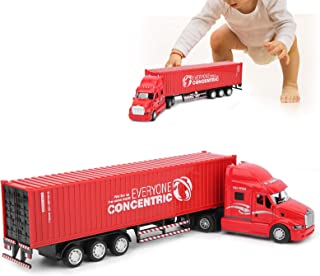 Alloy Container Truck, High Simulation Pull Back Vehicle Model Children Die Cast Metal Car Toy with Sound Light for Toddle...