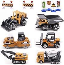 Alloy Construction Engineering Vehicle Toys Set 12 Pack Stacker,Big Forklift,Heavy Duty Roller,Excavator,Heavy Transport V...