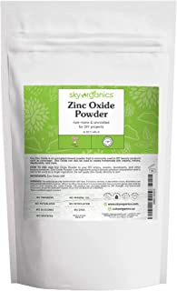 Zinc Oxide Powder by Sky Organics (16 oz) Uncoated Non-Nano Zinc Oxide Mineral Powder 100% Pure Zinc for DIY Sunscreen Lot...