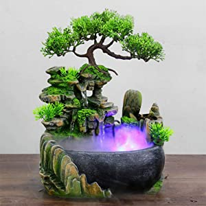 DYRABREST Tabletop Fountain Rockery Waterfall Fountain Desktop Mini Rockery Crafts Gift Atomizing Humidifier Fountain for Home Office Bedroom Desk Décoration