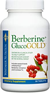 Dr. Whitaker's Berberine+ GlucoGold Supplement for Clinically Validated Blood Sugar and Cholesterol Support with Berberine...