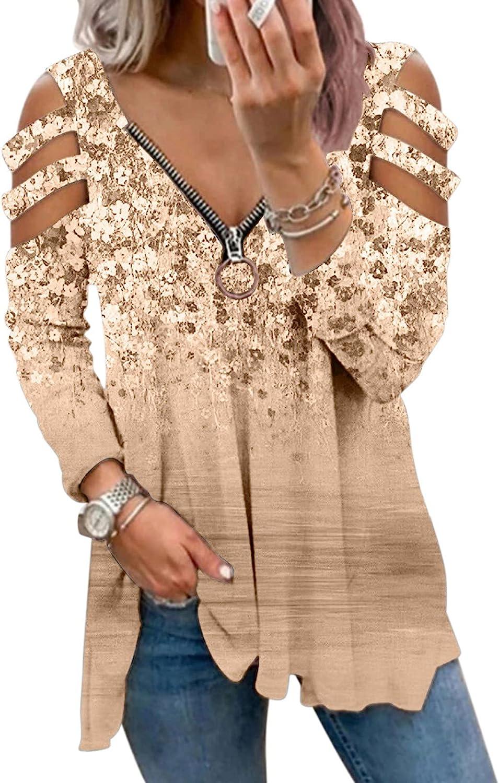 FABIURT Cute Tops for Women,Women Lightweight Long Sleeve Zipper Hollow Out Top Sexy V Neck Blouse Tee Flowy T Shirt