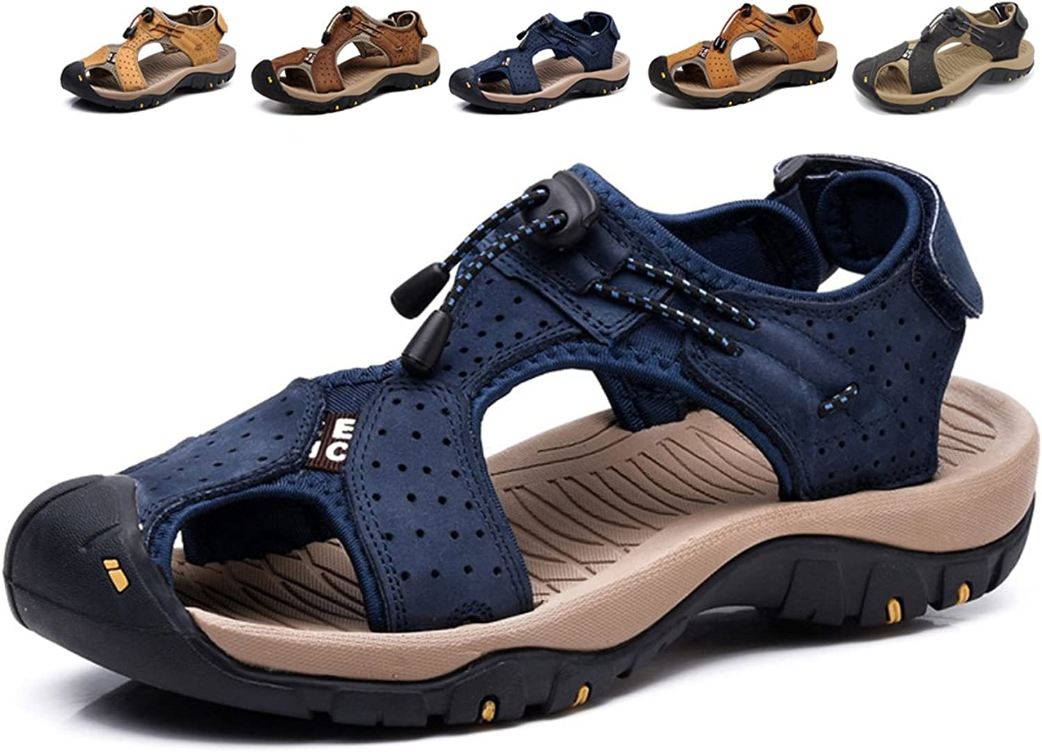 Summer New Outdoor Men's Beach shoes Leather Casual shoes Korean Breathable Wxposed Toe Leather Sandals Baotou Non-Slip