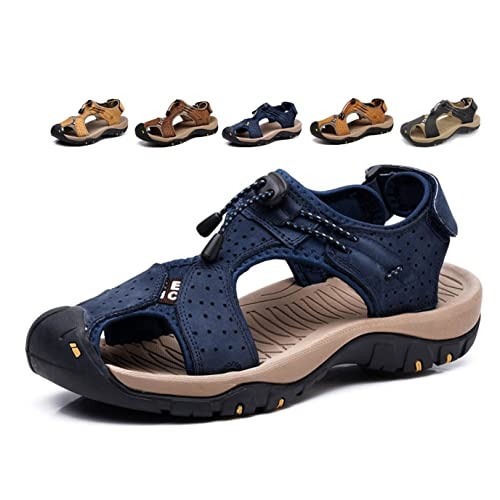 9165f04cf32a Asifn Sports Outdoor Sandals Summer Men s Beach Shoes Leather Casual  Breathable Non-Slip Hiking Walking
