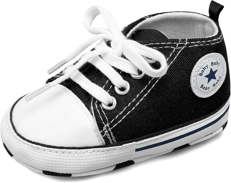 Scurtain Unisex Baby Boys Baby Girls Canvas Sneakers Toddler Sneaker Soft Anti-Slip Sole High Top Sneaker Infant Sneaker First Walkers Crib Shoes Prewalker