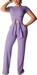 بدلة IyMoo كاجوال للنساء أنيقة - بذلة قصيرة الأكمام بذلة قصيرة الأكمام ضمادة سراويل قصيرة واسعة الساق