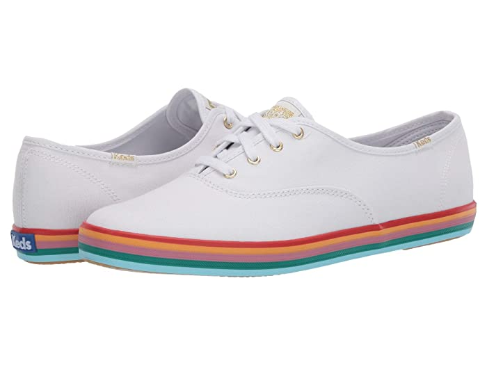 Retro Vintage Flats and Low Heel Shoes Keds Champion Rainbow Foxing WhiteMulti Womens Shoes $46.56 AT vintagedancer.com