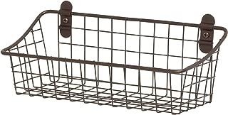 Spectrum Diversified Vintage Wall Storage Basket Cabinet Kitchen & Pantry Organizer Mounted Bin, Small, Bronze