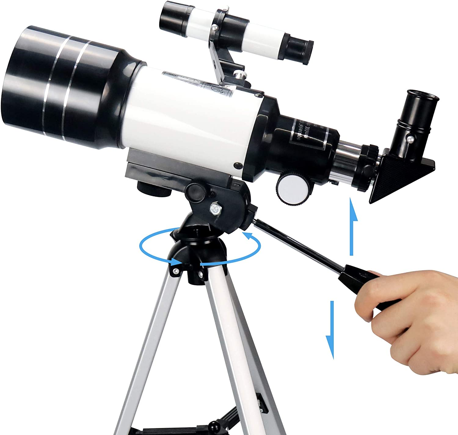 Portable Travel Telescope with Phone Adapter//Tripod//Finder Scope Optics Upgrade Upgrade Telescopes for Adults Telescopes for Astronomy Beginners Kids Adults 70mm Aperture 300mm AZ Mount