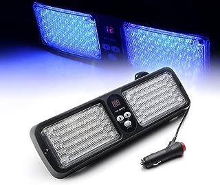 Xprite Blue 86 LED 12 Modes Windshield SunShield Law Enforcement Emergency Hazard Warning Strobe Lights for 12V Vehicle Sun Visor