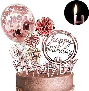 تزیین شیرینی کیک رز طلای MOVINPE با شمع های تولدت مبارک