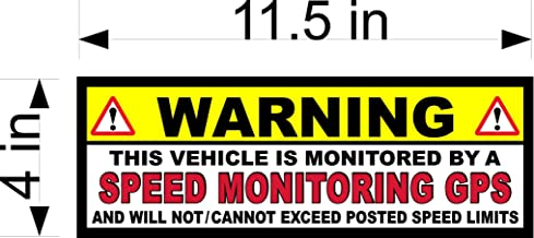 Warning This Vehicle is Monitored by A Speed Monitoring GPS NO Speeding Work Travel Decal OR Magnet (4