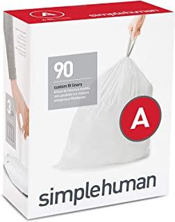 simplehuman Code A Custom Fit Drawstring Trash Bags, 4.5 Liter / 1.2 Gallon, 90 Pack, White, 90 Count