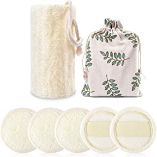 6 Packs Loofah Sponges Set Including 5 Packs Exfoliating Loofah Facial Cleansing Pad,1 Pack Large Exfoliating Shower/Bath Loofah Body Scrubber For Men and Women(100% Natural)