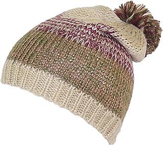 D&Y Adult Variegated Stripes Knit Winter Beanie Hat W/Pom Pom on Top (One Size)