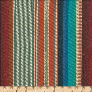 Laura & Kiran 0515047 Southwest Stripes El Paso Turq/OrangeBasketweave Fabric by The Yard, Orange