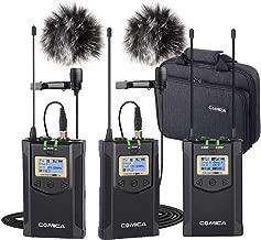 Wireless Lavalier Microphone System(2TX+1RX), Comica CVM-WM100 Plus UHF Dual Wireless Lapel Mic System for DSLR Canon Nikon Sony Panasonic Camcorder, Smartphone