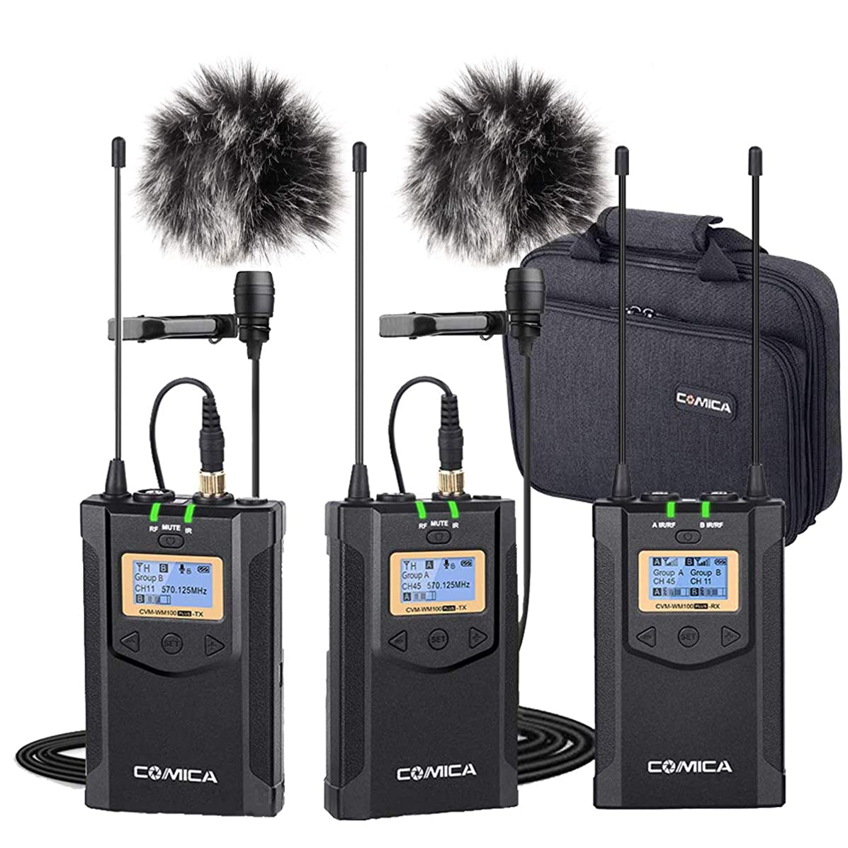 Wireless Microphones Comica CVM-WM100 PLUS Professional UHF Dual Wireless Lavalier Lapel Microphone System for Canon Nikon Sony Panasonic DSLR Cameras,XLR Camcorder,Smartphone etc.(2TX+1RX)